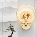 Brass Carps Wall Mural Light Asia Metallic LED Circular Wall Mounted Lighting for Decor