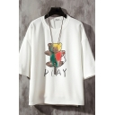 Mens T-Shirt Bear Letter Play Pattern Regular Fit 3/4 Sleeve Round Neck Graphic T-Shirt