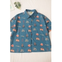 Vintage Letter Fire Circle Cartoon Lion Printed Button Down Collar Short Sleeve Regular Fit Graphic Shirt in Blue