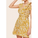 Fashionable Womens Ditsy Floral Printed Ruffle Trim Sleeveless V-neck Stringy Selvedge Short A-line Dress in Yellow