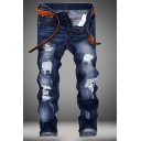 Trendy Mens Jeans Washing Effect Distressed Zipper Button Straight Fit Full Length Jeans with Pocket