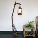 Metallic Lantern Stand Up Lamp Coastal 1 Head Parlour Tree Floor Lighting in Copper
