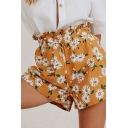 Pretty Ladies Allover Daisy Floral Print Elastic Waist Relaxed Shorts in Yellow
