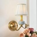 1/2-Light Barrel Wall Mount Light Traditional Brass Finish Gathered Fabric Wall Lamp Fixture