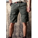Trendy Mens Cargo Shorts Solid Color Drawstring Zipper Mid Rise Regular Fitted Cargo Shorts with Flap Pocket