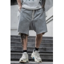 Stylish Mens Shorts Solid Color Zipper Pocket Drawstring Mid Rise Relaxed Fitted Shorts