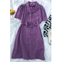 Elegant Solid Color Button Down Tie Front Fake Pocket Lapel Collar Short Sleeve Midi A Line Dress for Ladies