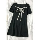 Black Cool Zip Back Pleated Patchwork Ruffle Trim Tie Square Neck Short Puff Sleeve Short A Line Dress for Ladies