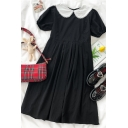 Unique Girls Pleated Patchwork Lace Trim Peter Pan Collar Short Puff Sleeve Midi Oversized Dress in Black