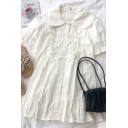 Chic Girls Letter 8 Embroidery Detail Lace Up Button Down Ruffle Cuff Peter Pan Neck Short Puff Sleeve Midi Swing Dress in White