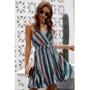 Trendy Womens Stripe Printed Spaghetti Straps Surplice Nekc Drawstring Waist Mini Pleated A-line Slip Dress
