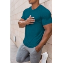 Simple Tee Top Plain Round Neck Regular Fitted Short Sleeve Tee Top for Men