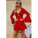 Formal Girls Red Bell Sleeve V-neck Hollow out Ruffled Mini Pleated A-line Dress