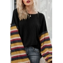 Trendy Womens Stripe Print Panel Long Sleeve Crew Neck Waffle-knit Loose T Shirt
