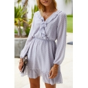 Creative Womens All over Print Ruffle Gathered Waist V Neck Long Sleeve Short A-Line Dress