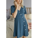 Blue Leisure Womens Plain Button down V Neck Short Sleeve Mini A-Line Knitted Dress