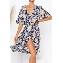 Trendy Floral Print Slit Front Tie Waist Surplice Neck Half Sleeve Chiffon Midi Sheath Dress for Women