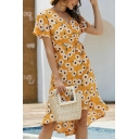 Holiday Ladies All over Daisy Floral Printed Short Sleeve Surplice Neck Bow Tied Waist Ruffled Mid A-line Dress in Orange