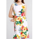 Fashion All over Floral Printed Sleeveless V-neck Ruffle Hem Short A-line Work Dress for Women