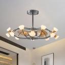 Oval Cage Ceiling Fan Light Modernist Metallic 35.5