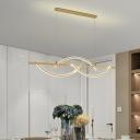 Simple 3-Arced Linear Pendulum Light Metallic LED Restaurant Chandelier Pendant Lamp in Black/Gold, White/Warm Light
