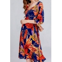 Casual Allover Leaf Printed Short Sleeve V-neck Mid Pleated Swing Dress for Women