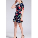 Stylish Womens All over Flower Printed Short Sleeve Crew Neck Ruffled Tiered Short A-line Dress in Blue