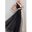 Amazing Ladies Sleeveless V-neck Strappy Colorblock Patched Maxi Pleated Flowy Tank Dress in Black