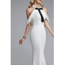 Special Occasion White Cold Shoulder Bow Tie Lace-up Backless Maxi Fishtail Gown for Ladies