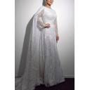Boutique Ladies Sequined Decoration See-through Patchwork Long Sleeve Round Neck Maxi A-line Evening Dress in White