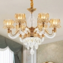 6-Bulb Amber Glass Up Chandelier Traditional Gold Lotus Shade Living Room Pendant with Crystal Accent