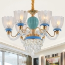 Clear Glass Scalloped Hanging Lamp Traditional 6 Bulbs Restaurant Chandelier in Blue with Crystal Drops
