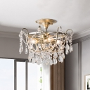 4-Bulb Dangling Crystal Semi Flush Light Traditional Gold Bowl Cage Living Room Ceiling Lamp