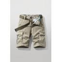 Mens Cool Shorts Letter Relax Printed Zip Fly Button Detail Flap Pockets Knee Length Straight Fit Chino Cargo Shorts