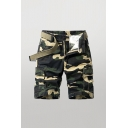 Casual Shorts Camo Pattern Zip-fly Button Detail Flap Pockets Knee Length Straight Fit Cargo Shorts for Men