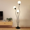 White/Black Finish Orb Shade Floor Lamp Modernism 3 Heads Opal Frosted Glass Standing Light