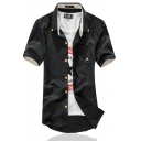 Casual Mens Short Sleeve Button-down Collar Stripe Printed Curved Hem Slim Fit Shirt Top