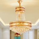 Beveled Crystal Gold Finish Chandelier 2 Layer Round 8 Heads Traditional Hanging Ceiling Light