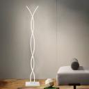 White Spiral Line Standing Floor Light Simple LED Acrylic Reading Floor Lamp in White/Warm/Natural Light