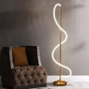 Gold Finish Spiral Stand Up Light Modernist LED Metal Floor Standing Lamp in White/Warm Light