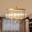Rectangle-Cut Crystal Gold Pendulum Light Drum 6-Light Modernist Chandelier Lamp Fixture