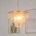 Conic Crystal Strand Suspension Light Modernism 3 Bulbs Gold Finish Hanging Chandelier