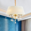 Modernist Drum Shade Hanging Lighting Plated Fabric 4-Head Bedroom Chandelier Lamp in White/Grey