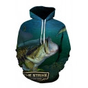 Creative Mens Fish Letter the Strike 3D Printed Pocket Drawstring Long Sleeve Relaxed Fit Graphic Hoodie