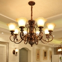 Bronze 8 Bulbs Pendant Chandelier Traditional White Frosted Glass Flower Up Suspension Light