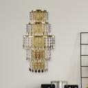 Brass 5-Light Wall Sconce Postmodern Crystal Droplets Multi-Tiered Wall Light Kit