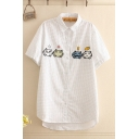 Preppy Girls Cat Embroidered Polka Dot Print Short Sleeve Turn down Collar Button down High Low Hem Relaxed Shirt in White