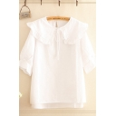 Pretty Girls Bell Sleeves Stringy Selvedge Bow Tie Peter Pan Collar Relaxed Shirt in White