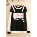 Kawaii Womens Japanese Letter Cat Graphic Contrasted Long Sleeve Round Neck Loose Fit Pullover Sweatshirt