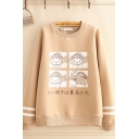 Cute Girls Japanese Letter Cartoon Graphic Striped Long Sleeve Round Neck Loose Pullover Sweatshirt